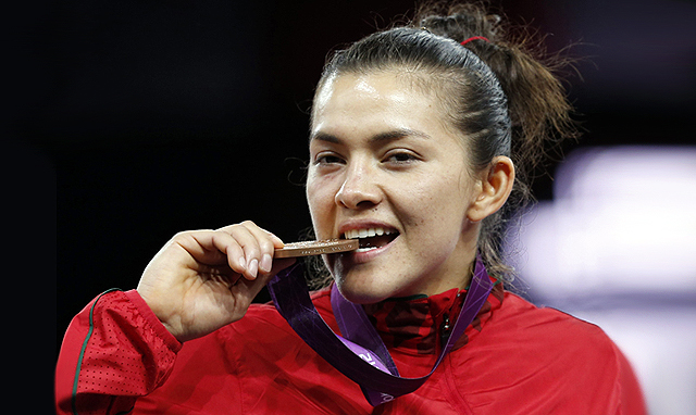 Maria del Rosario Espinoza of Mexico with her bronze medal from the Women +67kg gold medal taekwondo finals at the ExCel Centre in the London 2012 Olympic Games in August 2012.